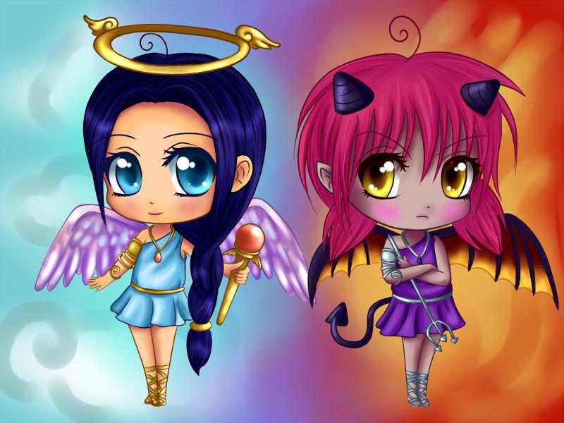 Angel vs Devil chibi by Dolly-wrath on DeviantArt