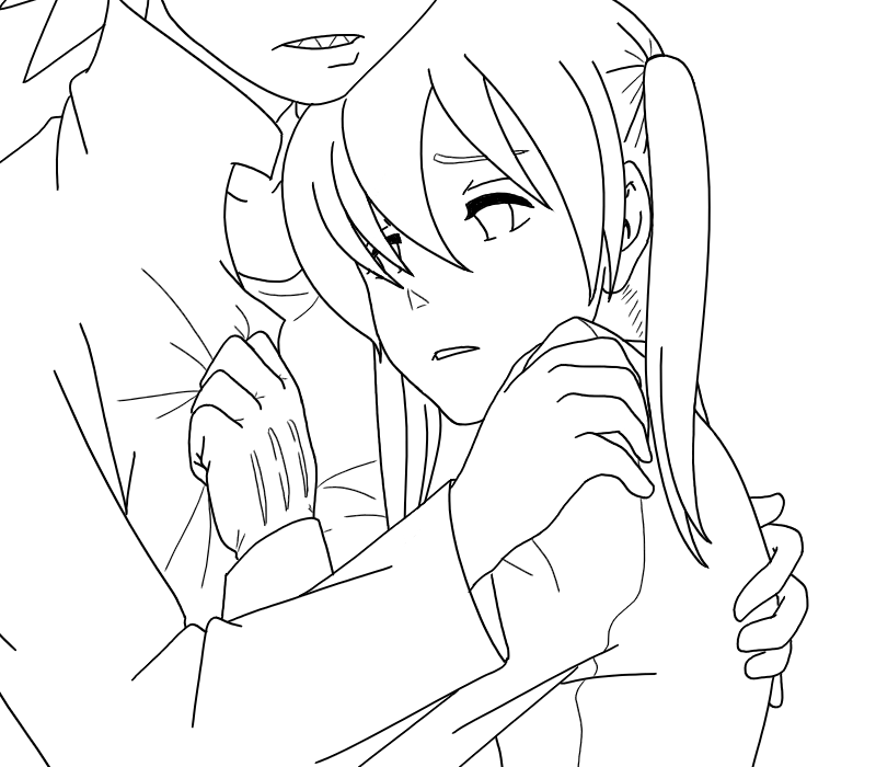 Anime character coloring pages soul eater ~ Soul Eater - SxM Hug Lineart by SweetJanie on DeviantArt