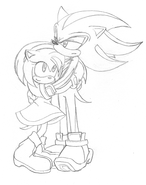 shadow and amy coloring pages - photo#2