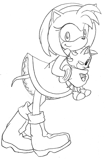 amy rose the hedgehog coloring pages - amy holding shadow plushie by sweetjanie on deviantart