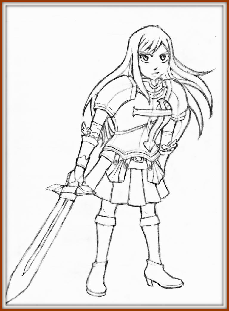 Line Drawing Body : Erza scarlet full body line art by animusision on