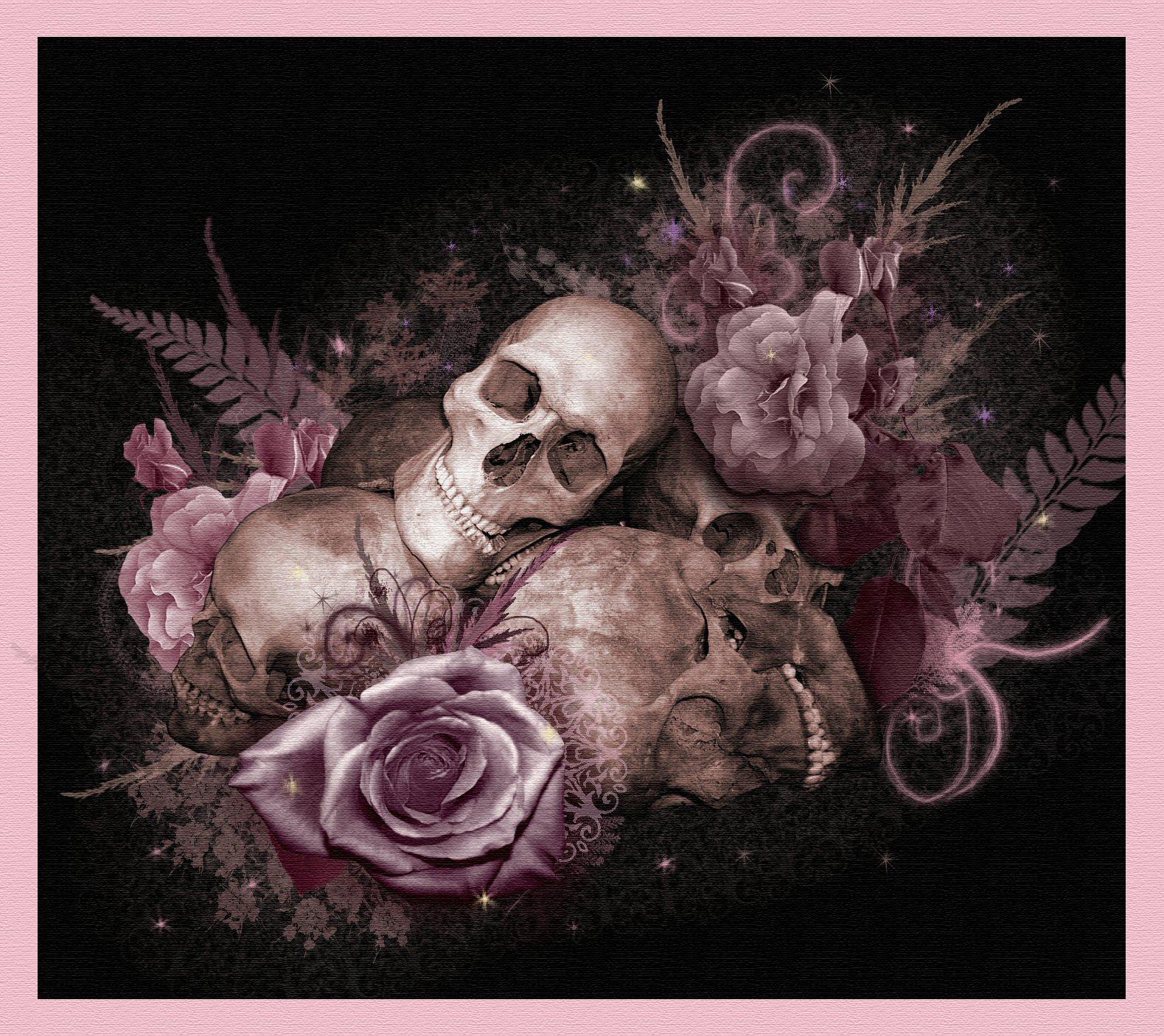 Skull Wallpaper For Bedroom Skulls And Roses By Serenitynme On Deviantart