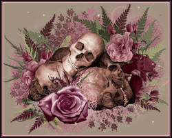 Skulls and roses wallpaper by SerenityNme