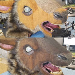Airbrushing the fur work -Goatman cosplay