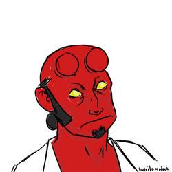 Hellboy sketch by burrito-madness