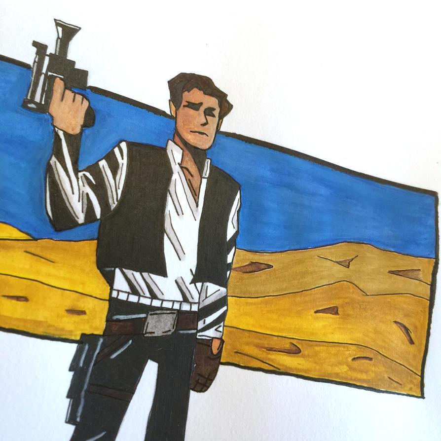 Han Solo - WATERCOLOUR AND PEN SKETCH 2 by tanman1