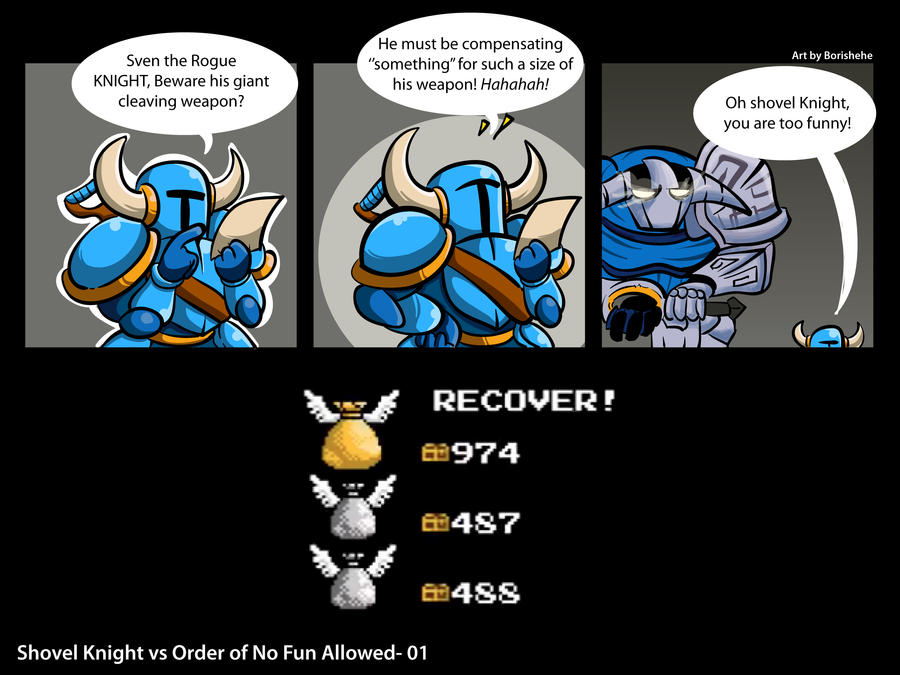 Shovel Knight vs the Order of No Fun Allowed by Borishehe