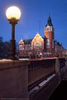 Slupsk - architecture in the city center by night by KonradJanicki