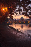 sunset view on Vatican city