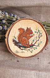 Miniature squirrel painting on wood