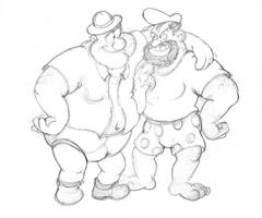 Sketch of Botch and Bluto by UToonOddity28