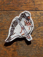 Sparrow embroidered brooch