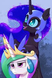 Princess Celestia and Nightmare Moon Team Up by DeusExEquus