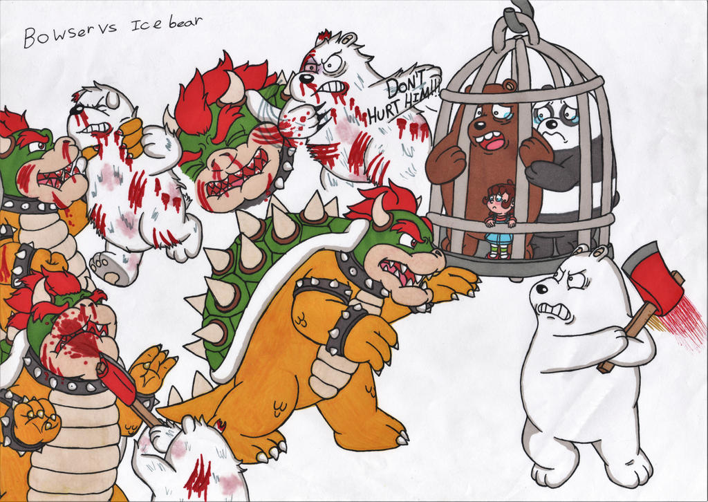 Bowser vs Ice bear by JessicaMario
