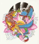 Tiger and Dragon on lotus