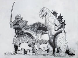 Godzilla Vs. Mega Samurai by professorwagstaff