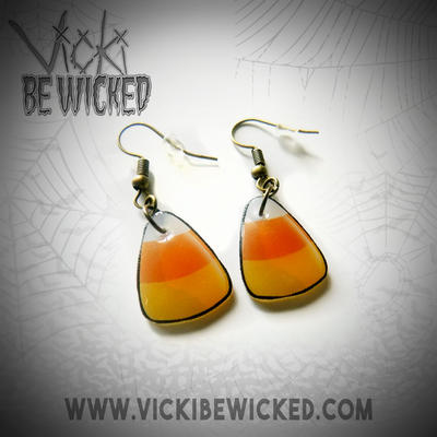 Halloween candy corn earrings by VickiBeWicked