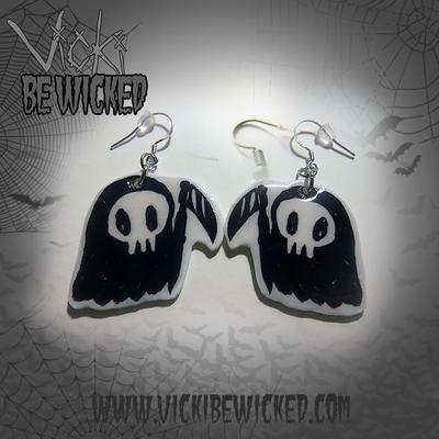 Mini Cute Grim Reaper Earrings by VickiBeWicked