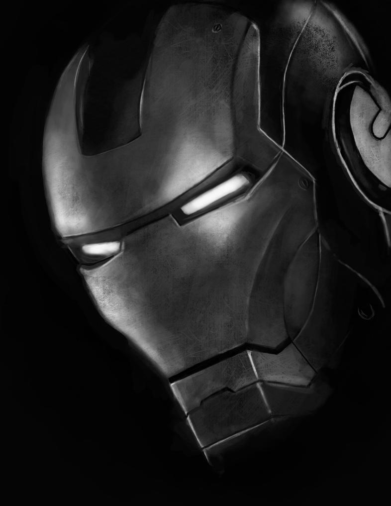 black and white iron man by sainz4 on deviantart. Black Bedroom Furniture Sets. Home Design Ideas