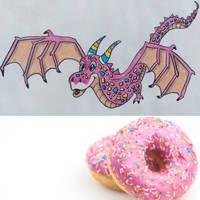Pink glazed Dragon with sprinkles