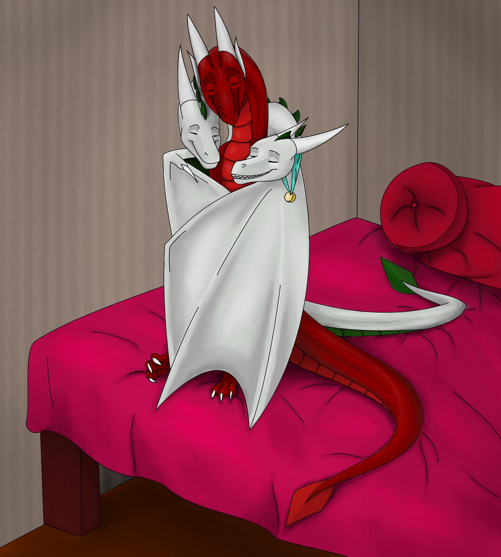 Comm - Dragon cuddle by MinrDJ
