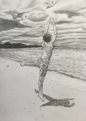 Ballet dancer at the beach