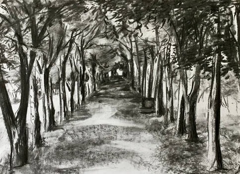 Charcoal one point perspective