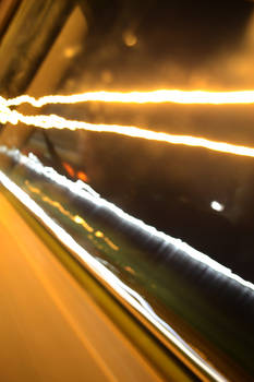 Long exposure of streetlights from car