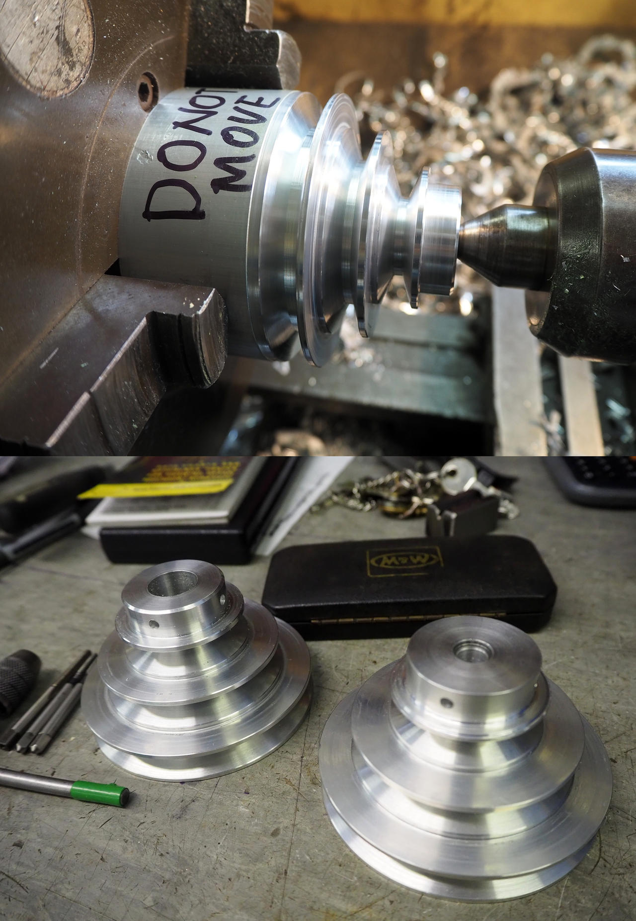 Project woodturning lathe Pulleys