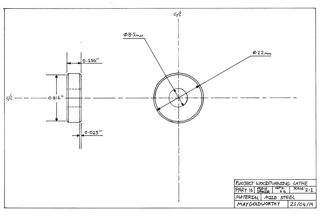Project woodturning lathe Part 16 Drawing by MayGoldworthy