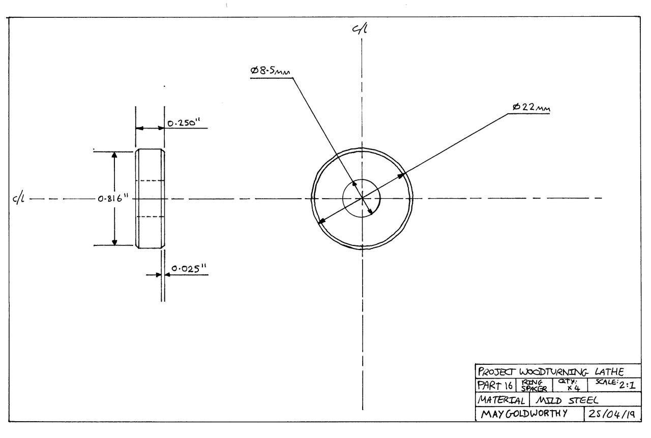 Project woodturning lathe Part 16 Drawing