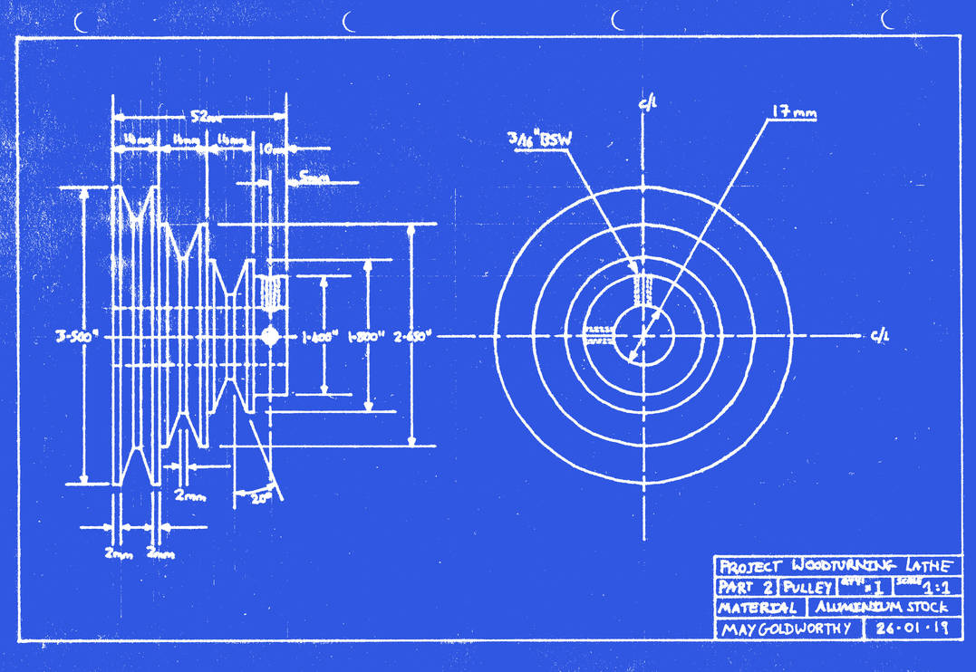 Project woodturning lathe Part 2 Blueprint by MayGoldworthy