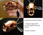 Steampunk Skull Necklace with Accents of 14k Gold