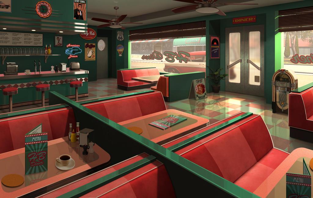 Diner 50s by mogura no kanji on deviantart for Diner artwork