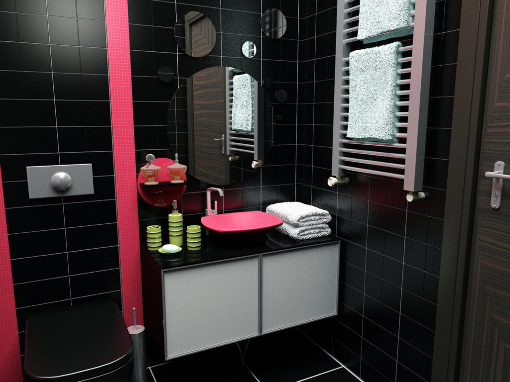 Small black bathroom by 1zmim on deviantart for Black bathroom designs