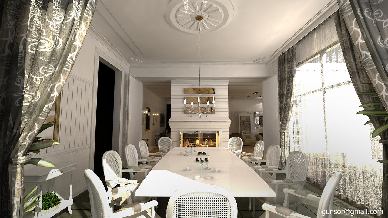 dining room with fireplace1zmim on deviantart