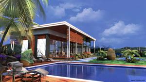 Villa Pool Gazebo Palm