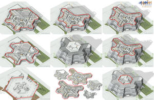 Modern Town Hall - 3D Plan Sections by 1zmim