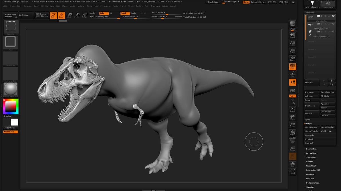 Tyrannosaurus rex Zbrush anatomy class by hugocafasso on DeviantArt