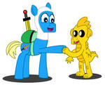 Finn the Pony and Jake the Dragon by FreshlyBaked2014