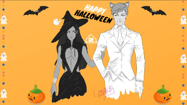 Halloween Inari and Odin by RedRequiem0
