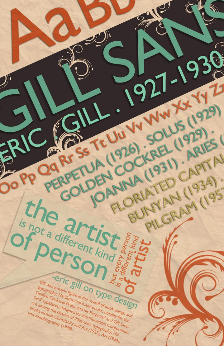 Gill Sans Fontographer Poster by Bunnie-Boo