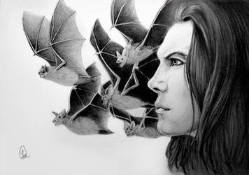 Male portrait with bats by Lodchen