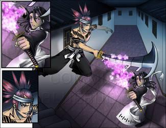 Renji vs Byakuya Commish by deviantbluebug