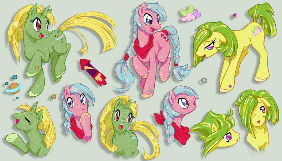Sparkle Ponies - StarHopper, SkyRocket and Napper by lirale