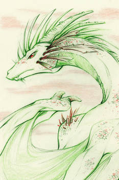 Green dragon - Sketch commission example A