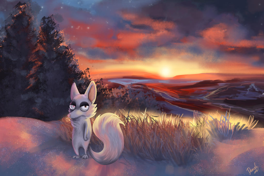 white fox by Lalobadelcrepusculo