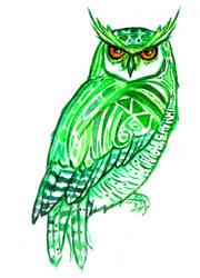 Green Owl by PetaBernard