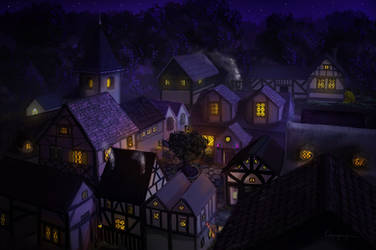 Commission - Village roof tops by CassiopeiaArt
