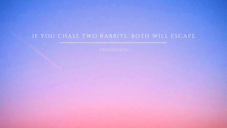 If you chase two rabbits, both will escape. by phoenixwholistic